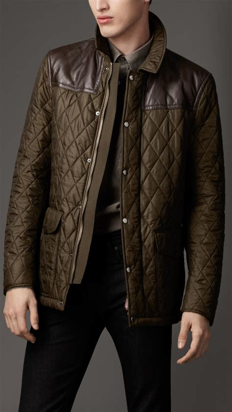 Burberry Leather Panel Quilted Jacket in Green for Men - Lyst