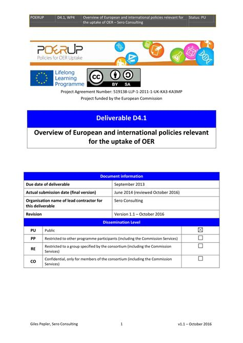 (PDF) Overview of European and international policies