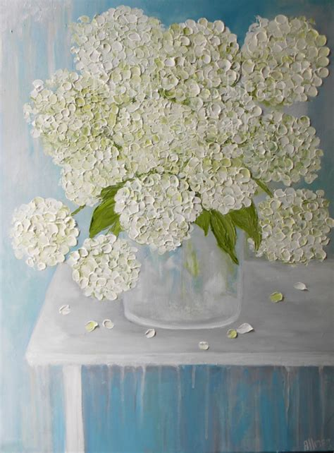 White Hydrangea Oil Painting, Hydrangea Floral Painting