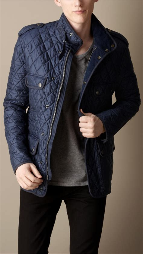 Burberry Diamond Quilted Field Jacket in Blue for Men