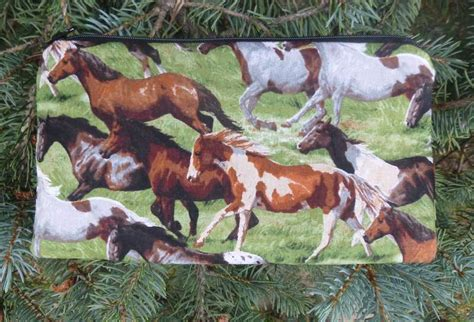 boutique style pencil case with running horses