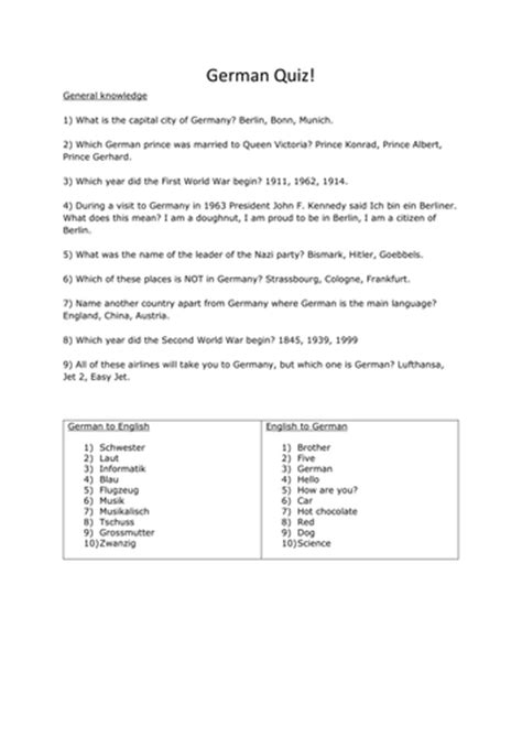 German/Germany General Knowledge Quiz Questions by